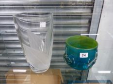 A MEDINA BLUE GREEN GLASS VASE, AND A LARGER GLASS VASE.