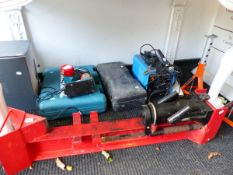 VARIOUS POWER TOOLS, A WELDER, AXLE STANDS ETC.