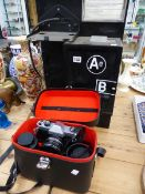 A ROLLEIFLEX CAMERA, AND A VINTAGE AB PHONE BOX.