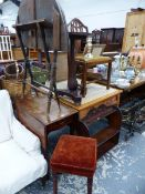 A COACHING TABLE, A SMALL DROP LEAF TABLE, A WALL SHELF AND A LAMP TABLE AND CHAIR.