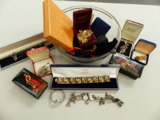 A QUANTITY OF BOXED COSTUME JEWELLERY INCLUDING BROOCHES, NECKLACES BRACELETS ETC.