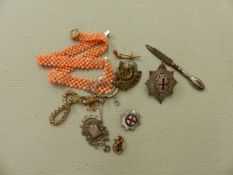 A CORAL FLAT WOVEN NECKACE, A GOLD AND AMETHYST PENDANT, A SILVER FOB PENDANT, BROOCHES ETC.