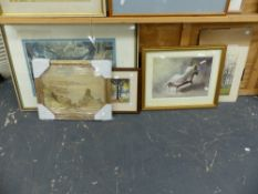 THREE WATERCOLOURS, PRINTS ETC. (9)
