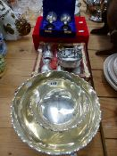 A QUANTITY OF EASTERN SILVER PLATED BOWLS, GOBLETS, ETC.