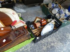 A QUANTITY OF GERMAN POTTERY BEER STEINS, AND TWO BOXES OF MISC. ASSORTED.