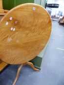 A SATINWOOD TILT TOP TRIPOD TABLE.