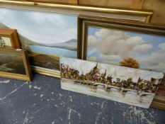 19th.C. OIL ON PANEL A MOORLAND RIVER SCENE, AND FOUR OTHER PAINTINGS. (5)