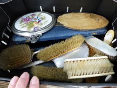 A HALLMARKED SILVER PART DRESSING TABLE SET ETC.