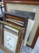 VARIOUS VICTORIAN PICTURE FRAMES AND OTHER PRINTS ETC.
