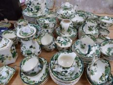 A MASONS IRON STONE CHARTREUSE PATTERN PART TEA AND DINNER SERVICE.