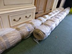 TWO LARGE BOUND LOOP PILE CARPETS.