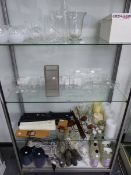 A LARGE COLLECTION OF DECORATIVE GLASS VASES, INCENSE STICKS ETC.