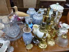 THREE ORIENTAL GINGER JARS, TWO CONVERTED AS LAMPS, A VICTORIAN LIDDED PAIL, A GLASS WASH JUG AND