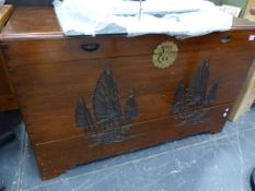 A LARGE ORIENTAL BLANKET CHEST.