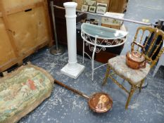 A BRUSSELS TAPESTRY PANEL, COPPER KETTLE, WARMING PAN, TWO STANDS AND A GILT SIDE CHAIR.