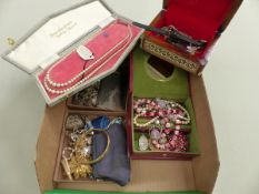 POMPADOUR PEARLS, THREE LADIES WRISTWATCHES, VINTAGE COSTUME JEWELLERY, SILVER ETC.