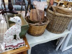 VARIOUS BASKETS, A HOUSEMAIDS BOX, AND A CAST IRON DOOR STOP.