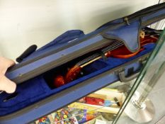 A MODERN CHANTRY VIOLIN AND BOW CASED.