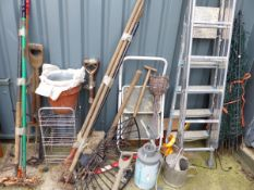 ELECTRIC FENCE AND TWO ALLOY STEP LADDERS, THREE BUNDLES OF TOOLS ETC.