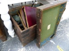 AN OAK SILVER CHEST, A BOXED SET OF DESERT GLASSES, A PARACHUTE, BRASS WARES ETC.