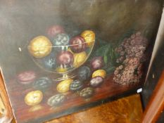 AN ANTIQUE OIL ON CANVAS, STILL LIFE OF FRUIT.