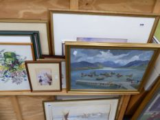 OIL PAINTING OF A HARBOUR SCENE AND A QUANTITY OF DECORATIVE PRINTS, ETC (16).
