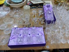 VARIOUS CUT GLASS DRINKING GLASSES INC. A BOXED SET OF WHISKY TUMBLERS, AND DECANTER.