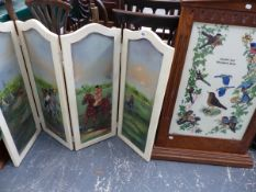 A HAND PAINTED FOUR FOLD SCREEN, AND AN EMBROIDERED PANEL SCREEN.