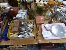 A QUANTITY OF SILVER PLATED WARES, CUTLERY, TABLE LAMPS, CANDLE STICKS ETC.
