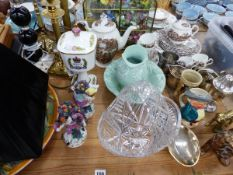 VARIOUS TABLE LAMPS, PORCELAIN BUTTERFLY DISPLAY, FIGURINES, ETC.