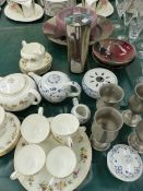 A WEDGWOOD TEA SERVICE, FOUR ART POTTERY BOWLS, PEWTER GOBLETS, ETC.