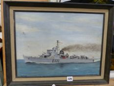 AN OIL PAINTING OF A DANISH DESTROYER
