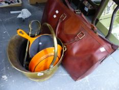 A GOOD QUALITY LEATHER HOLDALL, LE CREUSET PANS, AND A COAL BUCKET.