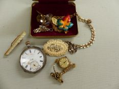 A 935 SILVER OPEN FACED POCKET WATCH, TOGETHER WITH VARIOUS COSTUME JEWELLERY.