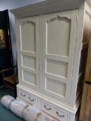 A JOHN LEWIS PAINTED LARGE WARDROBE.