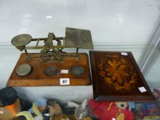 ANTIQUE POSTAL SCALES, TOGETHER WITH A MARQUETRY INLAND DESK BLOTTER.