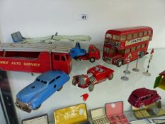 A SCHUCO CLOCK WORK HOT ROD, A TIN PLATE SCHUCO VARIANTO-LIMO, AND OTHER DIE CAST VEHICLES.
