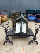 A VINTAGE STYLE STABLE LANTERN, A FIRE GRATE AND DOGS, ETC.