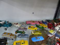 A QUANTITY OF VINTAGE DIE CAST VEHICLES.
