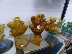 A COLLECTION OF VICTORIAN PRESSED GLASS BASKETS, SMALL VASES ETC.
