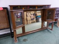 AN ARTS AND CRAFTS STYLE MIRROR DRESSER TOP.