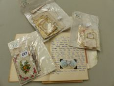 A COLLECTION OF VINTAGE PIERCED PAPER SWEET HEART CARDS, CIGARETTE SILKS ETC.