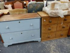 TWO 19th C. PINE CHEST OF DRAWERS.
