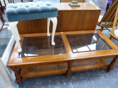 A COFFEE TABLE AND A DRESSING STOOL.