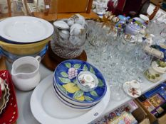 AN EXTENSIVE COLLECTION OF DECORATIVE AND HOUSEHOLD CHINA AND GLASS WARES.