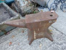 A LARGE BLACKSMITHS ANVIL.