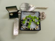 A SILVER BACKED BRUSH AND MIRROR, A TESSA TYLDESLEY DESIGNER NECKLACE, COSTUME NECKLACE ETC.