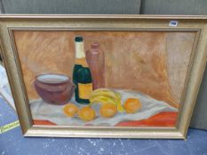 A GILT FRAMED OIL PAINTING STILL LIFE.