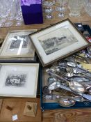 A QUANTITY OF SILVER PLATED CUTLERY, ENGRAVINGS AND PRINTS ETC.