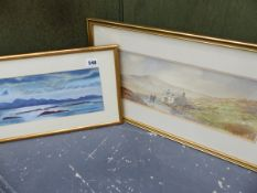 A WATERCOLOUR HIGHLAND LOCH SCENE SIGNED SHACLOCK TOGETHER WITH A FURTHER WATERCOLOUR SIGNED GUY